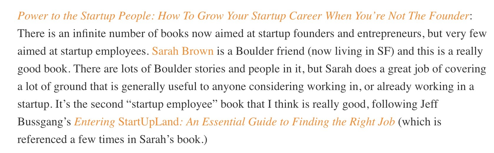 Brad Feld reviews Sarah E. Brown book Power to the Startup People